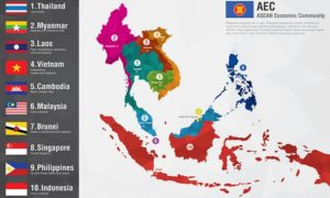 Aec Asean Economic Community World Map With A Pixel Diamond Text